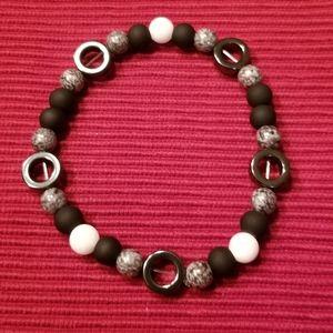 🎉HP!! ♠️Men's multi tonal black stretch bracelet